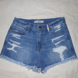 HOLLISTER 27 Denim Distressed High Waisted Shorts